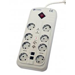 Сетевой фильтр Electraline на 8 розеток кабель ПВС 3х1мм2 1,5 метра арт.62083