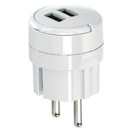 Сетевое зарядное для телефонов и планшетов с двумя USB разъемами 2,1А Electraline 55076