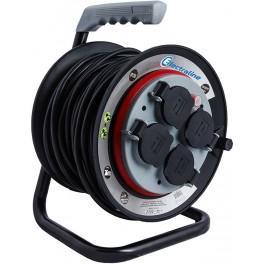 Удлинитель на катушке с фиксированным блоком розеток кабель пвс 3x1.5mm2 25mетров артикул 49125