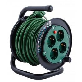Удлинитель на катушке Electraline на 4 розетки, кабель ПВС 3х0,75 мм2, 15 метров, арт.49113
