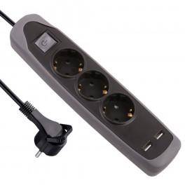 Удлинитель 2 метра на 3 розетки с плоской вилкой и двумя USB разъемами Electraline 62150
