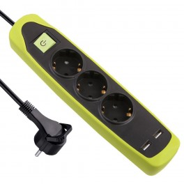 Удлинитель 2 метра на 3 розетки с плоской вилкой и двумя USB разъемами Electraline 62152