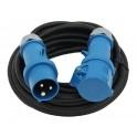 Удлинитель-шнур прорезиненный с силовыми разъемами 3х1,5мм2 20 метров ip44 черный артикул 01664